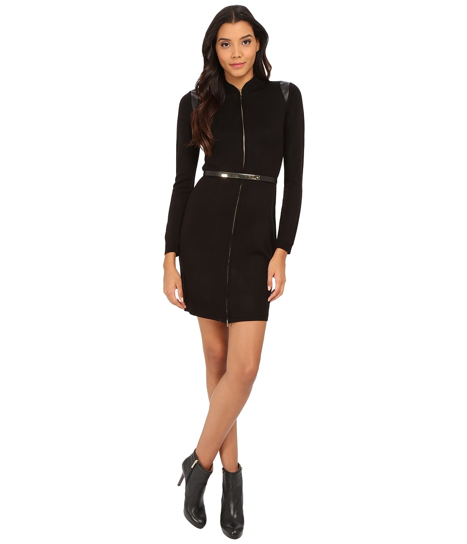 Calvin Klein - Zip Front Belt Weater Dress (Black) Women's Dress