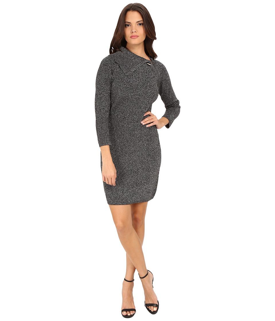 Calvin Klein Envelop Neck Sweater Dress (Black/Silver) Women