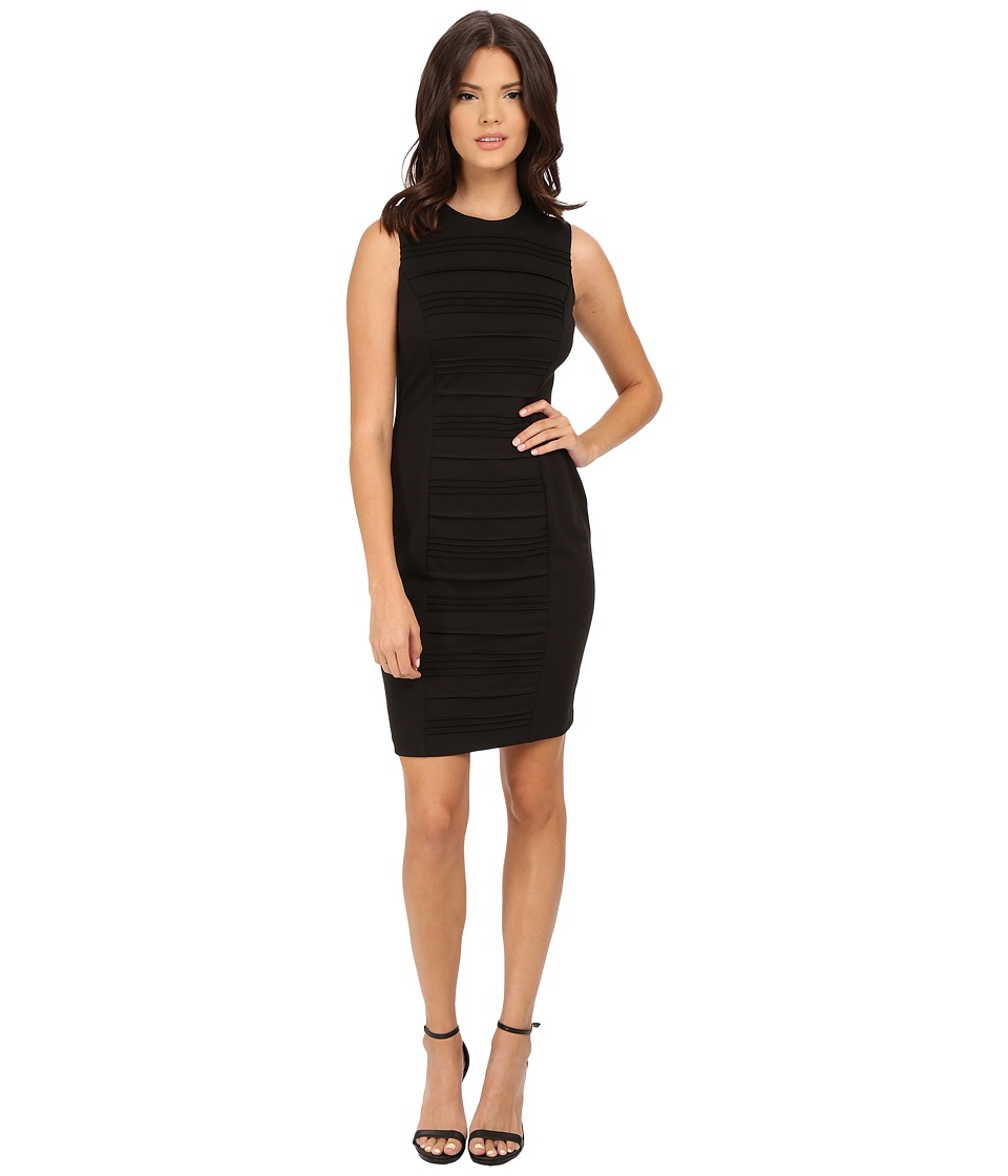 Calvin Klein - Sheath with Front Tucks Dress (Black) Women's Dress