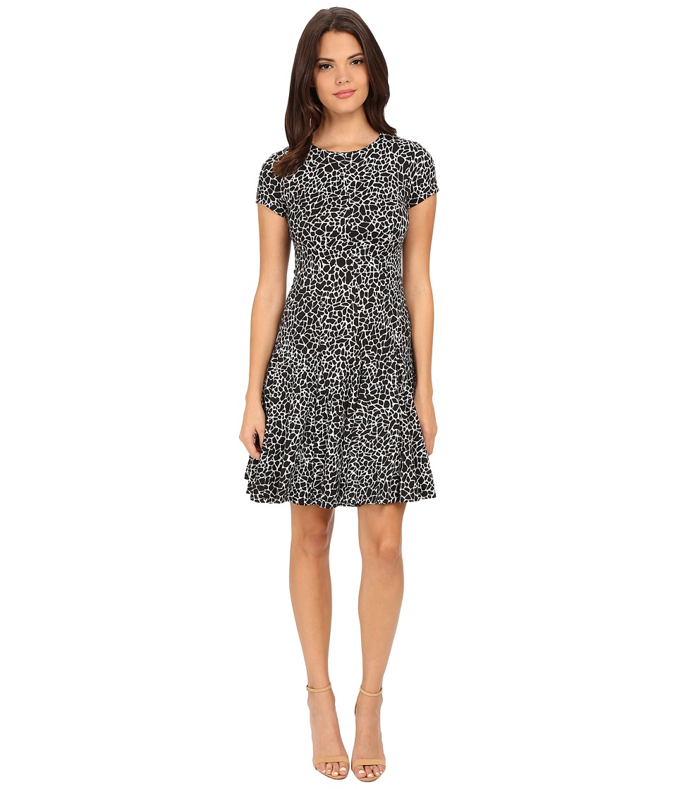Calvin Klein - Texture Flared Hem Dress (Black/White) Women's Dress