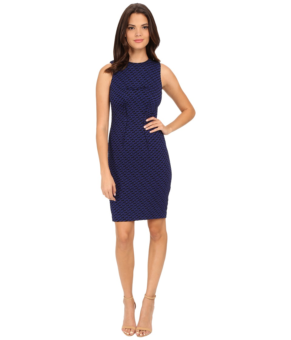 Calvin Klein - Textured Sheath Dress (Atlantis/Black) Women's Dress