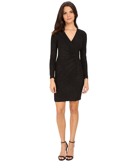 Calvin Klein - Side Ruched Long Sleeve Dress (Black) Women