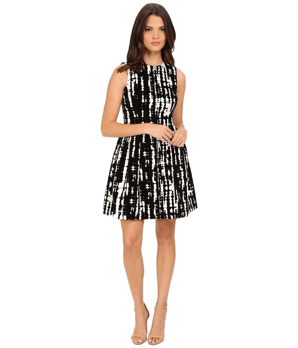 Calvin Klein - Flocked Fit Flare Dress (Black/Egg) Women's Dress