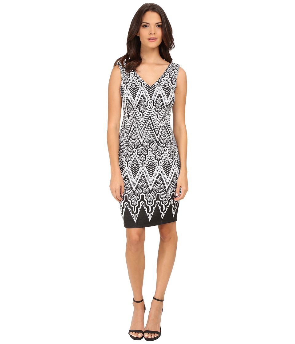 Calvin Klein - V-Neck Printed Sheath Dress (Black/Winter White) Women