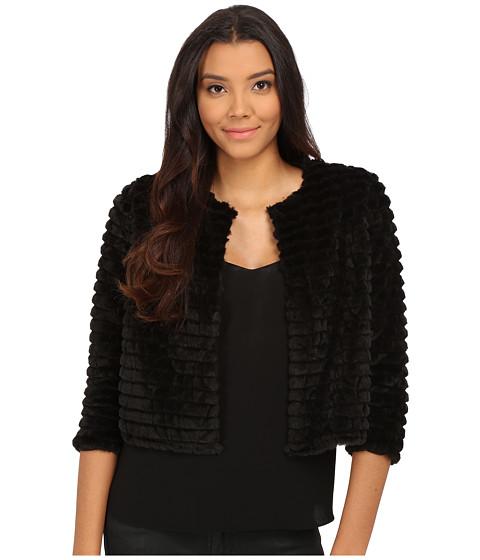 Calvin Klein - Faux Fur Shrug (Black) Women's Coat