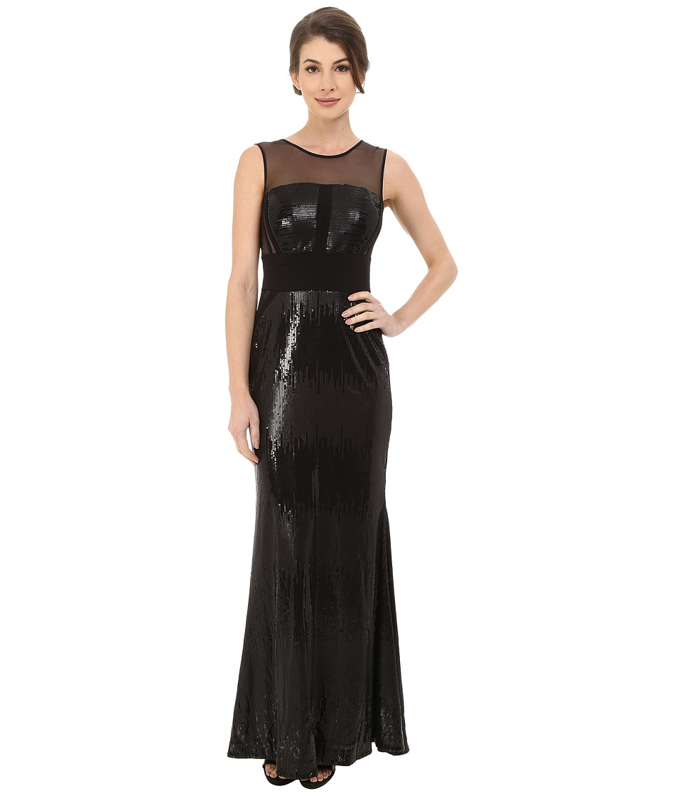 Calvin Klein - Sequin Gown at Illusion Yoke (Black/Black) Women's Dress
