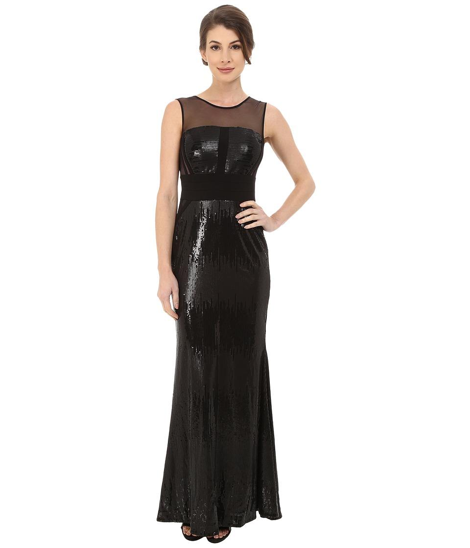 Calvin Klein - Sequin Gown at Illusion Yoke (Black/Black) Women's Dress