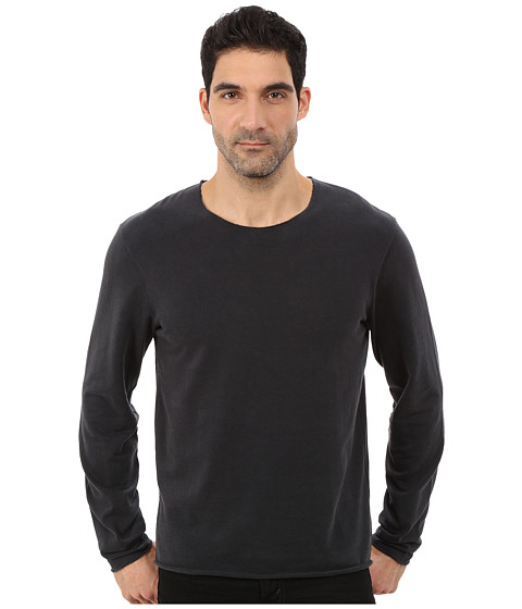 Alternative - Eco Micro Fleece Weathered Crew Neck (Black Wash) Men's Clothing