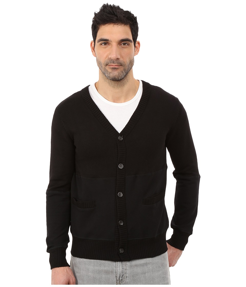 Alternative - Sweater Knit Letterman Cardigan (Black) Men's Sweater