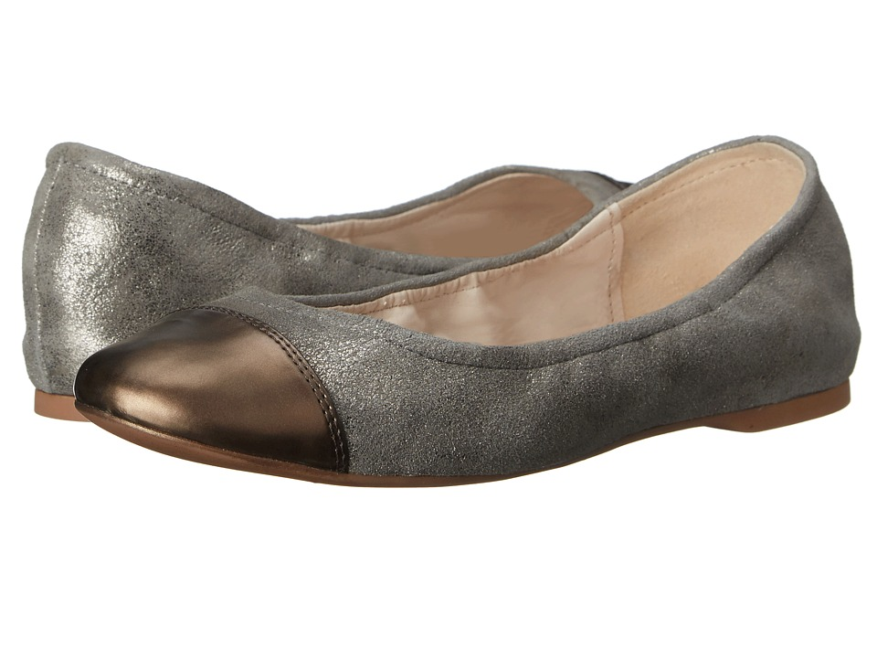 Cole Haan - Cortland Cap Toe Ballet II (Ironstone Leather/Argento Metallic) Women's Slip on Shoes