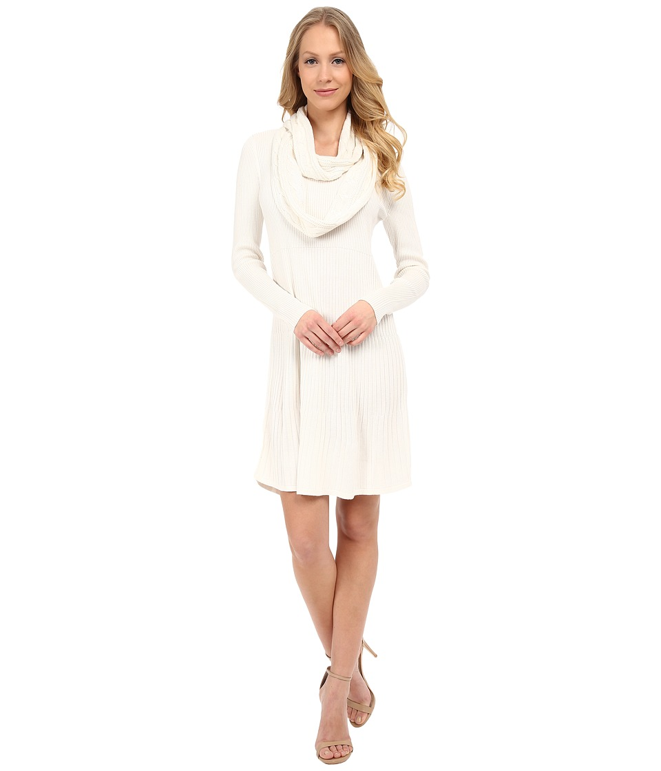 Calvin Klein - Long Sleeve Dress with Detachable Scarf (Eggshell) Women's Dress