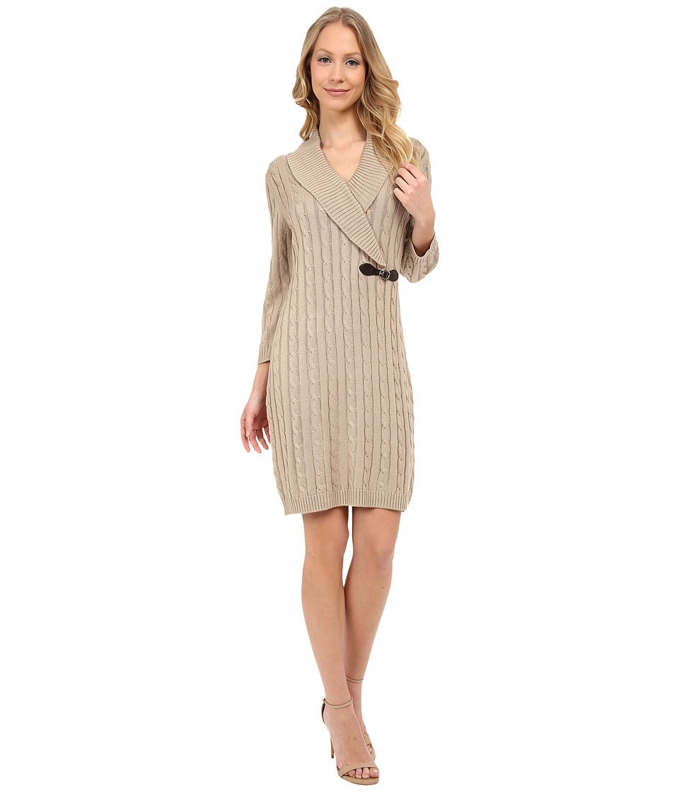 Calvin Klein - Fit Flare Sweater Dress (Khaki/Gold) Women's Dress