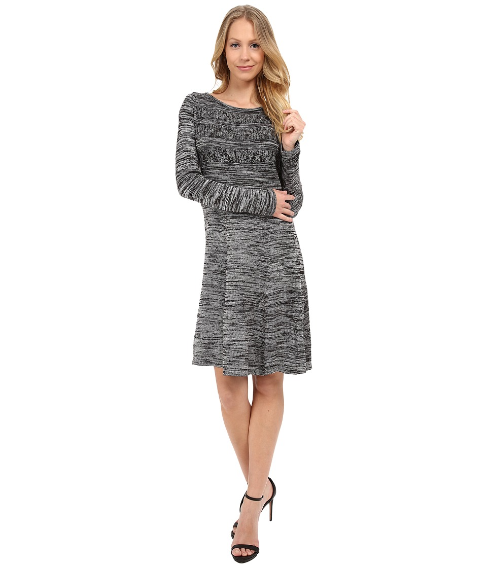 Calvin Klein - Fit Flare Sweater Dress (Black/White) Women's Dress
