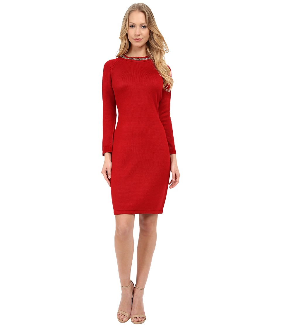 Calvin Klein - Long Sleeve Sweater Dress with Chain Detail (Red) Women's Dress