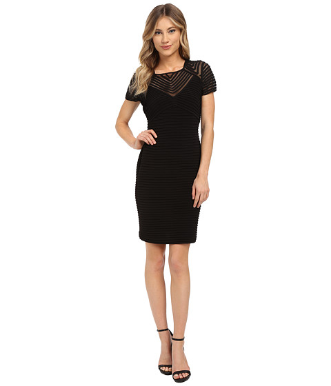 Calvin Klein - Pin Tuck Dress with Illusion Yoke (Black) Women's Dress