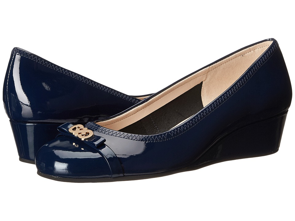 Cole Haan - Elsie Logo Wedge II (Blazer Blue WP Patent) Women