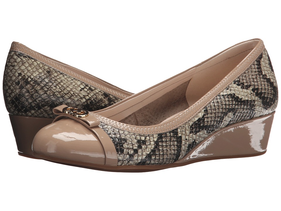 Cole Haan - Elsie Logo Wedge II (Natural Roccia Snake Print/Patent) Women's Wedge Shoes