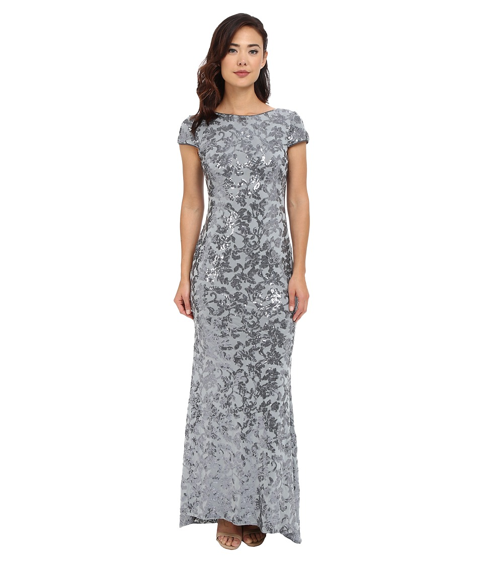 Calvin Klein - Scoop Neck Lace Gown (Charcoal) Women's Dress