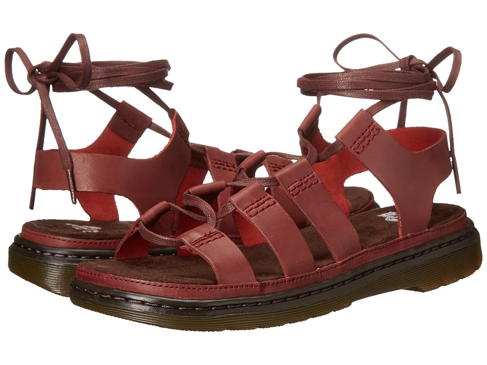 Dr. Martens Kristina Ghillie Sandal (Deep Red Polished Oily Illusion) Women