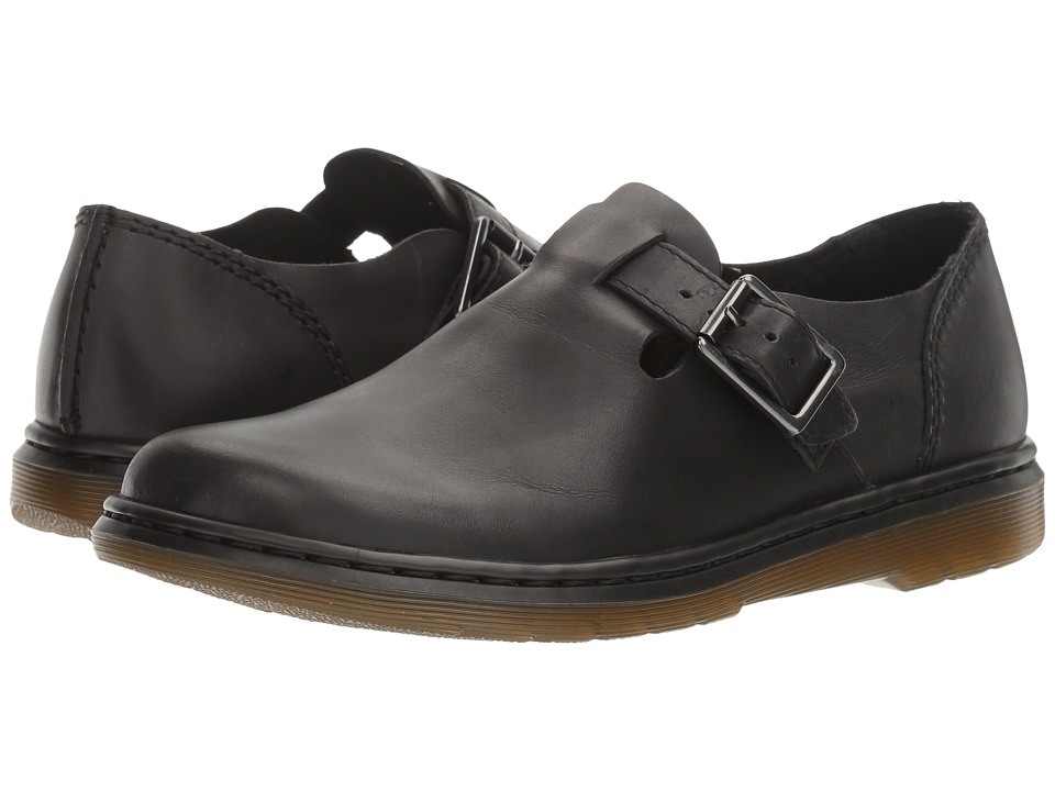 Dr. Martens Patricia Buckle Shoe (Black Polished Oily Illusion) Women
