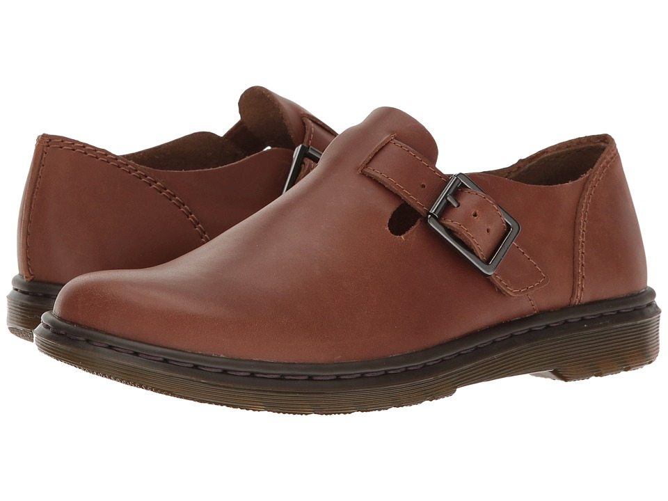 Dr. Martens Patricia Buckle Shoe (Tan Polished Oily Illusion) Women