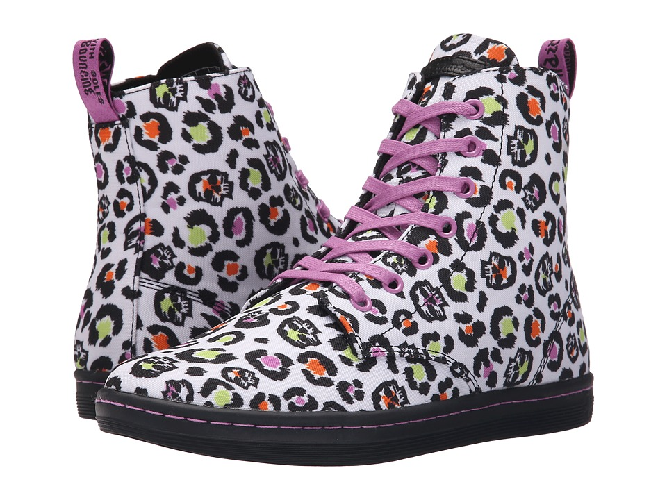 Dr. Martens - Hackney 7-Eye Boot (White Skleopard Twill Canvas) Women's Lace-up Boots