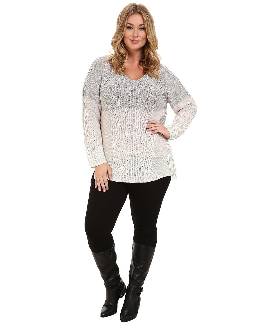 NIC+ZOE - Plus Size Weaved Ombre Top (Multi) Women's Sweater
