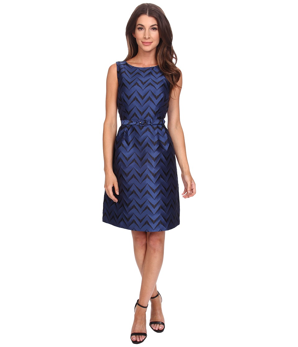 Anne Klein - Jacquard Boat Neck Fit Flare with Belt Dress (Raven Blue Combo 1) Women's Dress