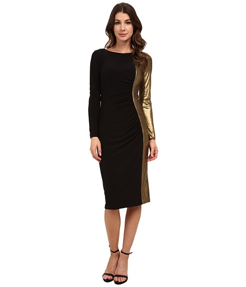 Anne Klein - Metallic Jersey Combo Long Sleeve Rouched Dress (Black) Women's Dress