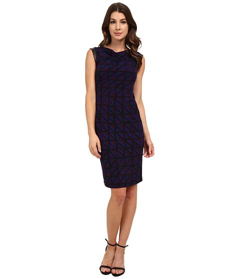 Anne Klein - Muir Jersey Draped Dress with Faux Leather (Phoenix Combo) Women's Dress