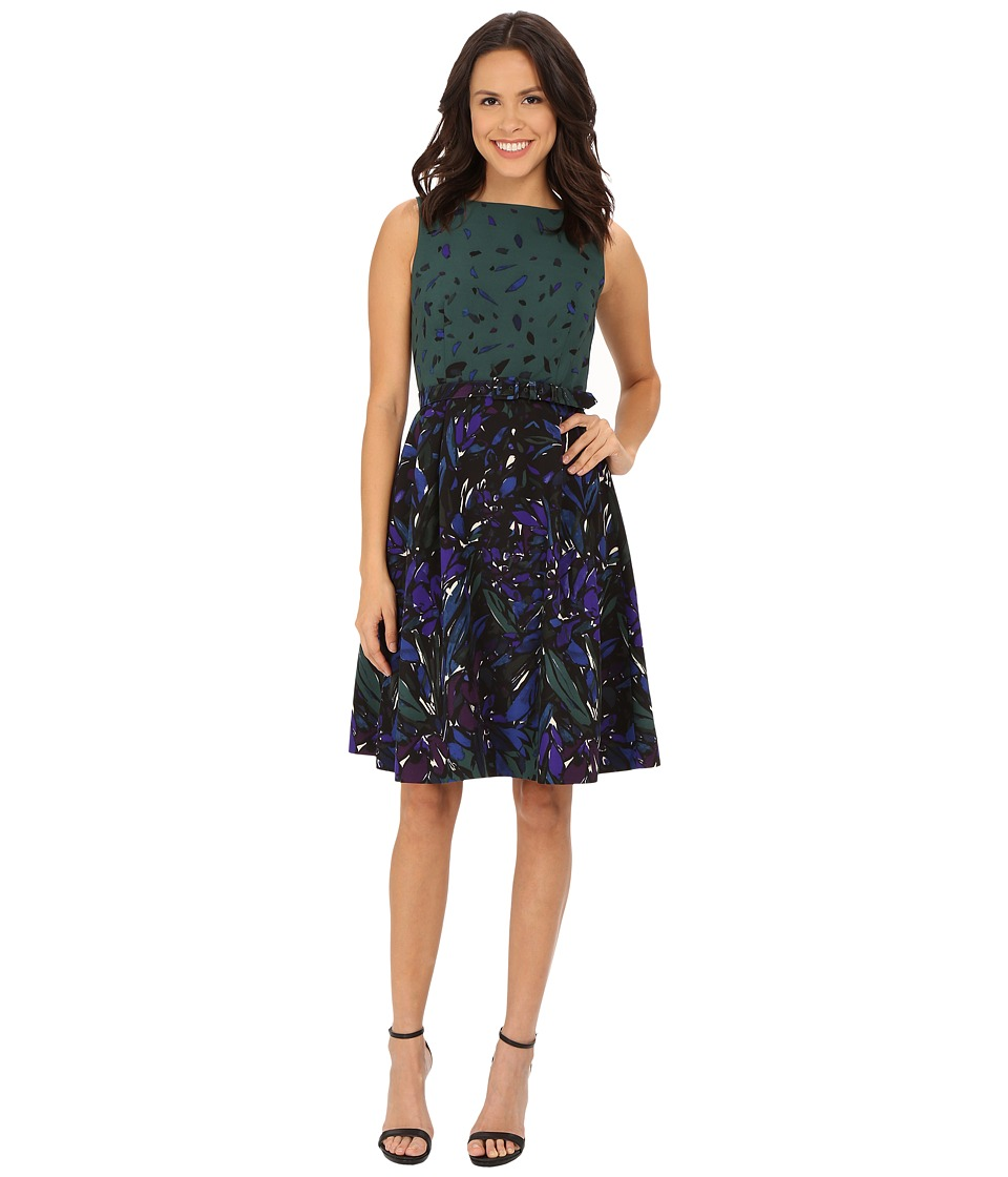 Anne Klein - Printed Twill Boat Neck Fit Flare with Belt Dress (Manet Green Combo) Women