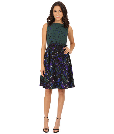 Anne Klein - Printed Twill Boat Neck Fit Flare with Belt Dress (Manet Green Combo) Women's Dress