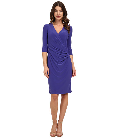Anne Klein - V-Neck Side Drape with Hardware (Tangier Blue) Women's Dress