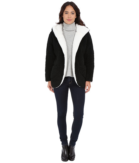 Gabriella Rocha - Rowan Fuzzy Reversible Jacket (Black/Off-White) Women's Coat