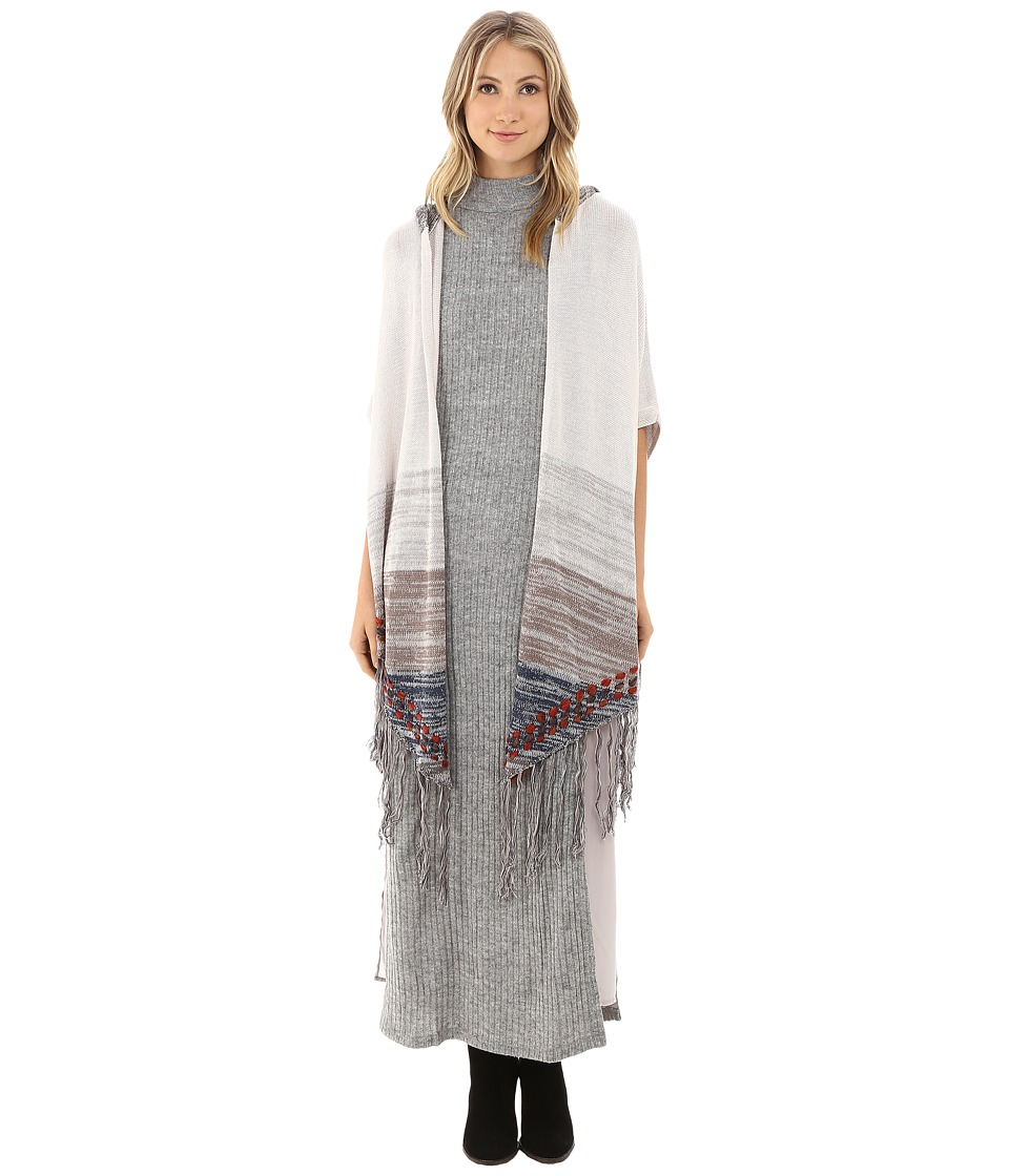Gabriella Rocha - Kenzie Fringed Hooded Poncho (Light Grey/Beige) Women's Clothing