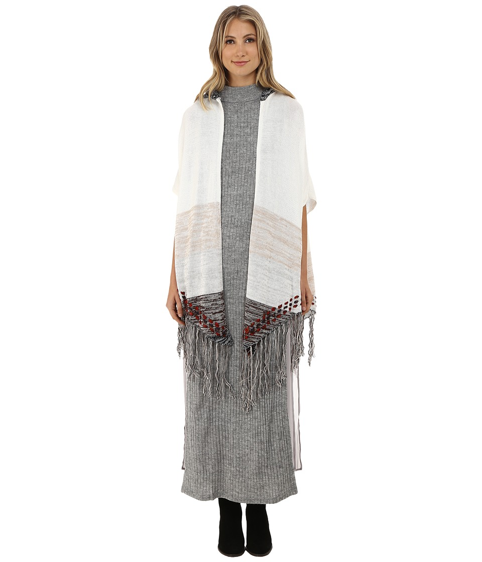 Gabriella Rocha - Kenzie Fringed Hooded Poncho (Cream/Taupe) Women's Clothing