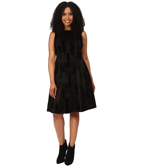 Calvin Klein Plus - Plus Size Flocked Flare Dress (Black/Black Combo) Women's Dress