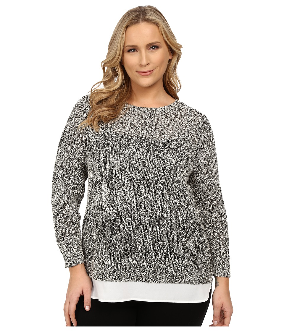 Calvin Klein Plus - Plus Size Sweater/Knit with Woven Shirting (Black/White) Women's Sweater plus size,  plus size fashion plus size appare