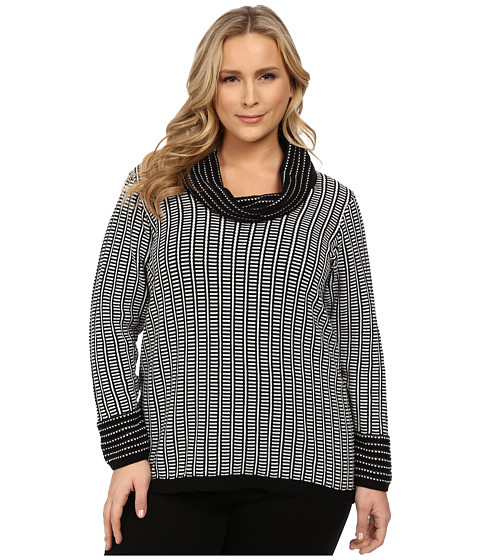 Calvin Klein Plus - Plus Size Cowl Neck w/ Grid Stripe (Black) Women's Sweater