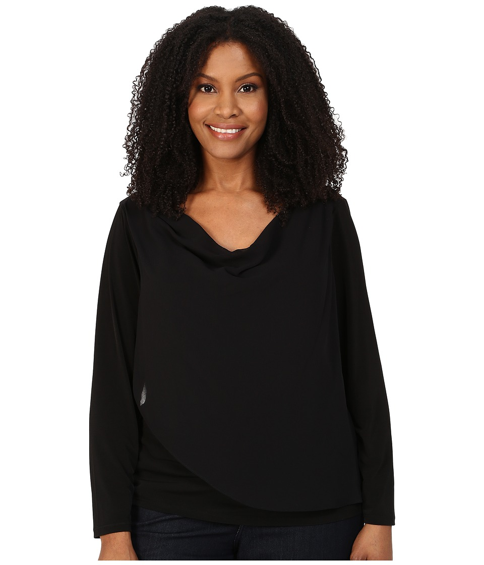 Calvin Klein Plus - Plus Size Long Sleeve Top with Chiffon Overlay (Black) Women's Clothing