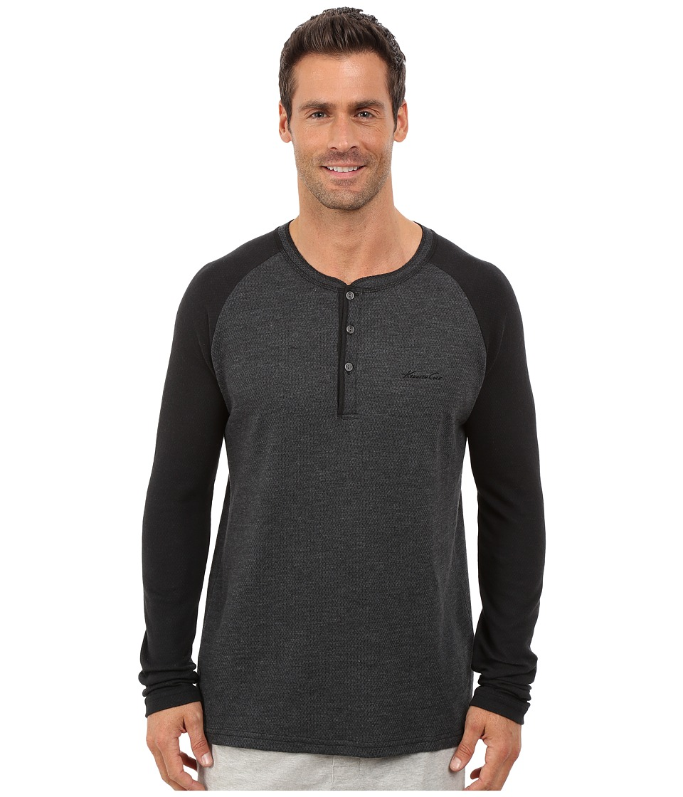 Kenneth Cole Reaction - Long Sleeve Henley (Black) Men's Pajama