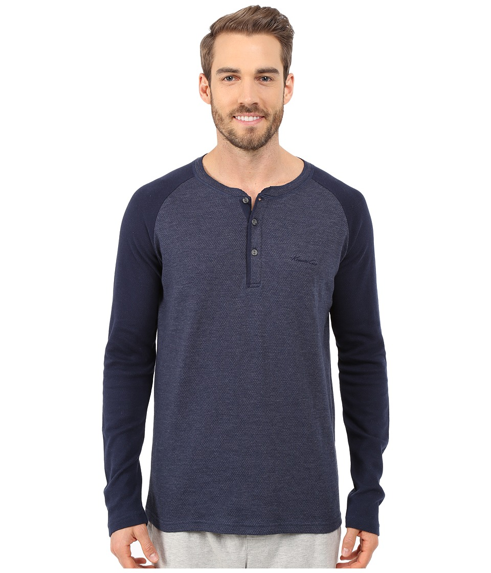Kenneth Cole Reaction - Long Sleeve Henley (Navy) Men's Pajama