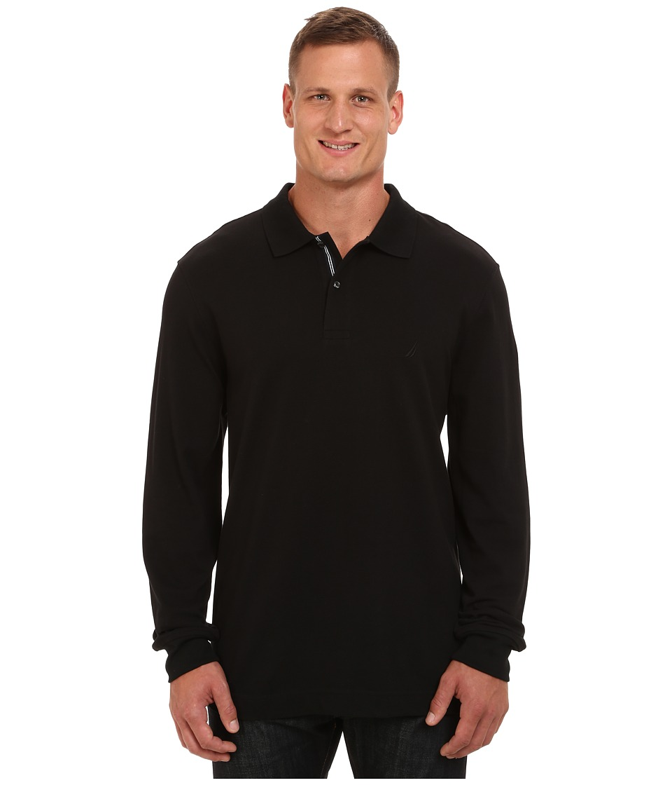 Nautica Big & Tall - Big Tall Long Sleeve Performance Pique (True Black) Men's Clothing
