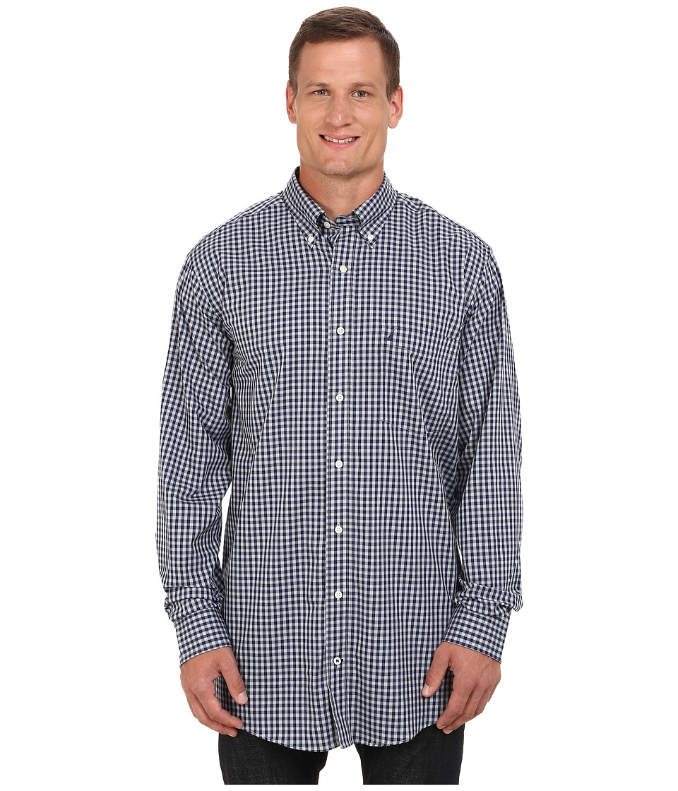 Nautica Big & Tall - Big Tall Small Plaid Cotton/Tencel (Night Sky) Men's Clothing