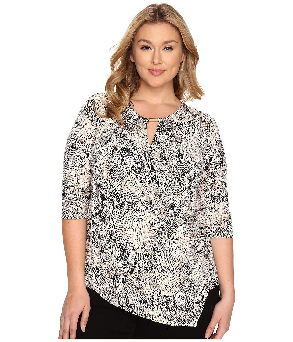 Calvin Klein Plus - Plus Size Three-Quarter Sleeve Wrap with Keyhole (Black Multi) Women's Blouse