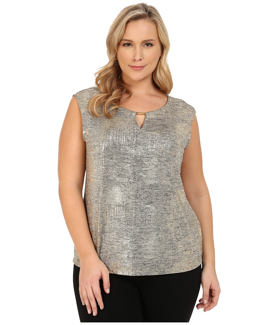 Calvin Klein Plus - Plus Size Sleeveless Metallic Foil Top (Gold) Women's Short Sleeve Knit