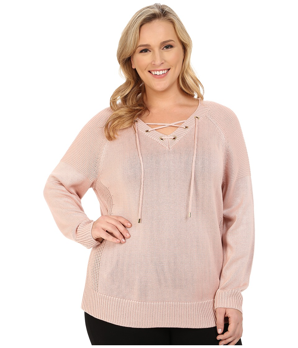 Calvin Klein Plus - Plus Size Lace Up V-Neck Sweater (Blush) Women's Sweater plus size,  plus size fashion plus size appare