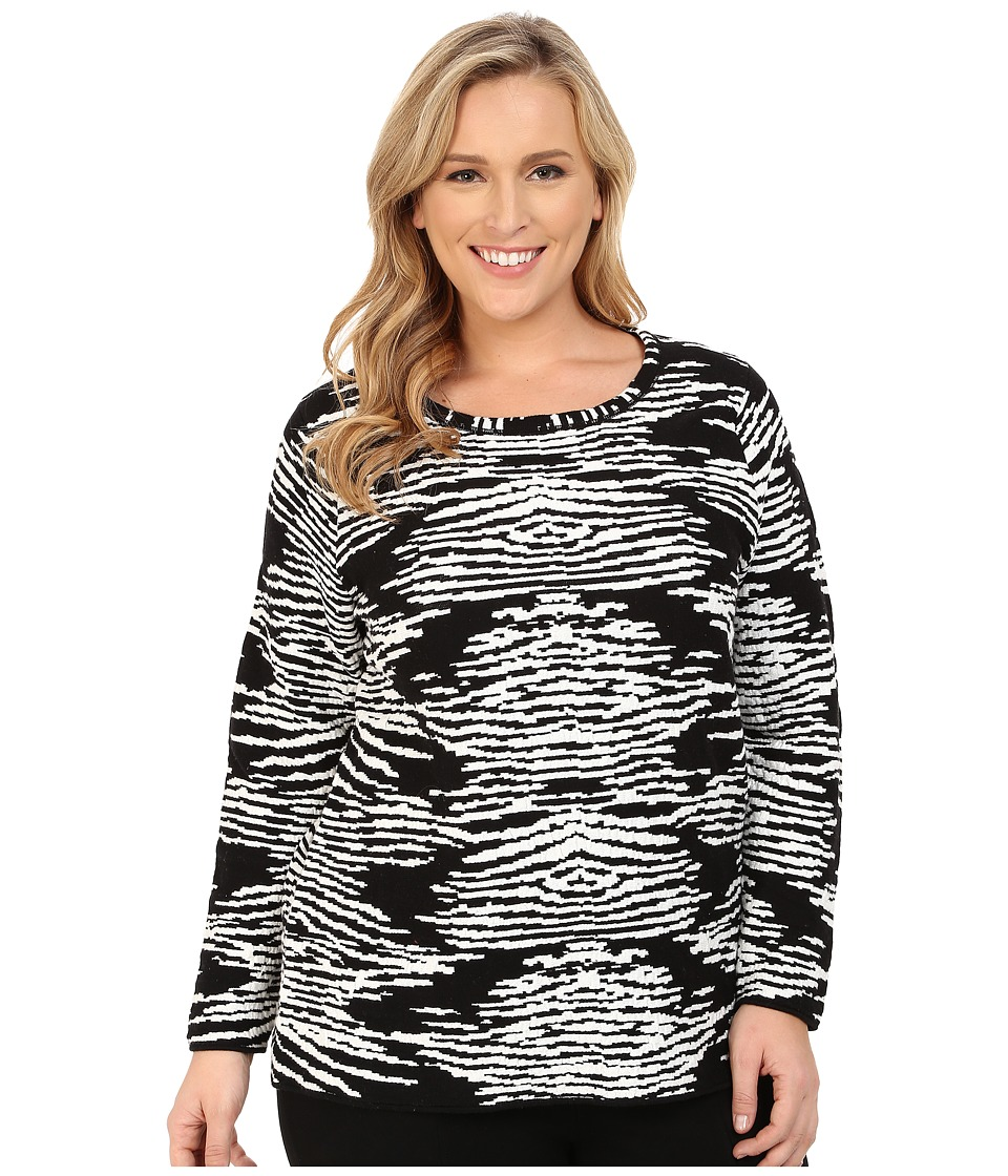 Calvin Klein Plus - Plus Size Zebra Sweater (Black) Women's Sweater plus size,  plus size fashion plus size appare