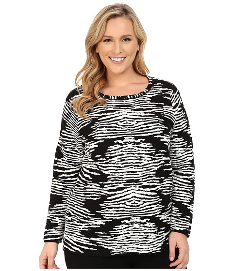 Calvin Klein Plus - Plus Size Zebra Sweater (Black) Women