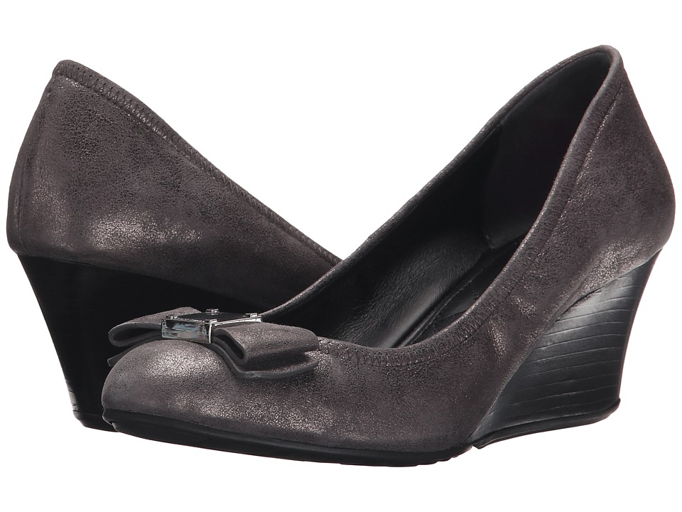 Cole Haan - Tali Grand Bow (Dark Silver Metallic Suede) Women's Shoes